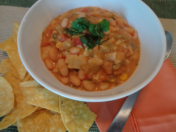 White Bean, Green Chilies and Tortilla Soup